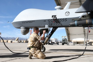 RAF Corporal Tests an MQ-9 Reaper at Creech AFB(USAF Photo, Lawrence Crespo