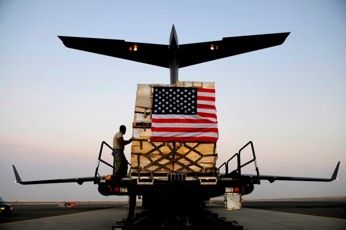 A pallet containing humanitarian relief supplies destined for Pakistan is prepared to be loaded into the cargo bay of a C-17 Globemaster III May 20, 2009, at an undisclosed location in Southwest Asia. (USAF photo by SSgt. Shawn Weismiller)