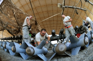 Deployed USAF Airmen Prepare Munitions for Use Against the Islamic State(USAF Photo, SMSgt Carrie Hinson)