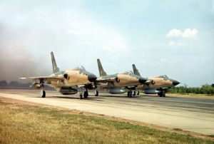 F-105 Fighter-Bombers Take Off to Strike North Vietnam in 1966(USAF Photo)
