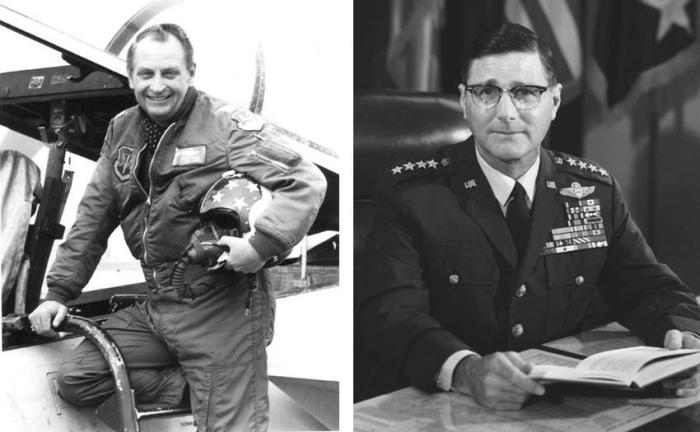 "(L) Colonel Richard ""Moody"" Suter, USAF; (R) General William Wallace Momyer, USAF"