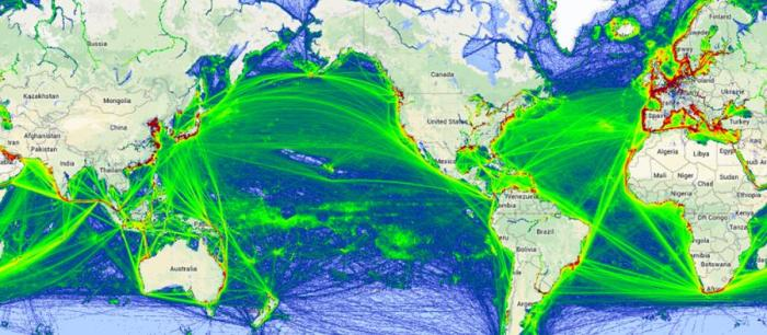 Maritime Traffic Flow for 2014(Image from MarineTraffic