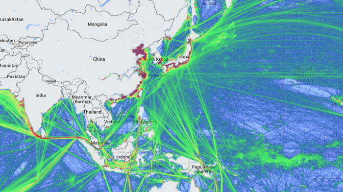 2014 Maritime Traffic Density(Image from marinetraffic.com)