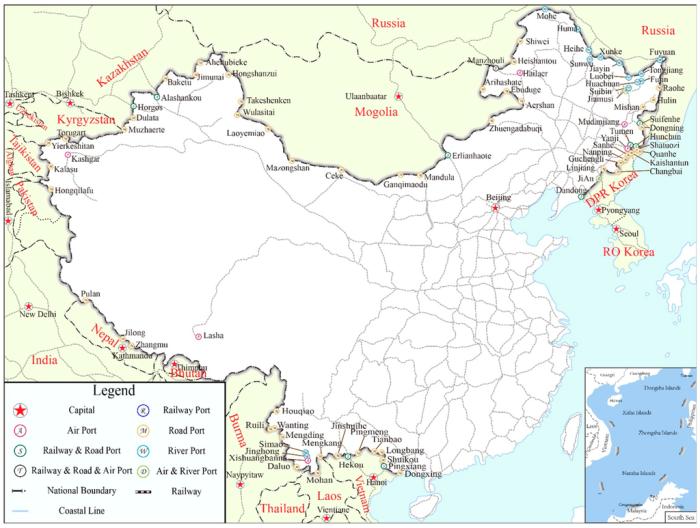 Figure 1: China's Border Port and National Railway Structure(Jiaoe Wang, et al)