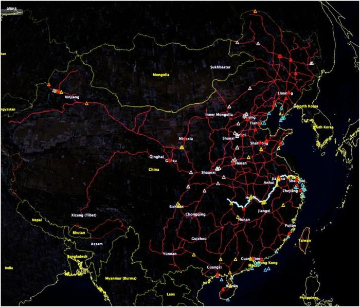 Figure 1: Target Set. The Railroad network is in red, with the Yangtze displayed (quite improbably) in blue as far as the 3 Gorges Dam. Provinces are labeled. Red targets are refinery targets (including SPR sites), orange are international pipeline links, white targets are transportation targets (mostly tunnels) while yellow targets are rail bridges over water. Blue symbols represent the minefield laydown.