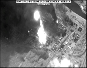 Figure 16: Post-strike imagery of the Novi Sad Petroleum Refinery (NATO). Catastrophic secondary damage to the refining plant from this fire extended to only one nearby distillation tower, while damage to the tank farms was largely limited to the tanks that were actually hit.