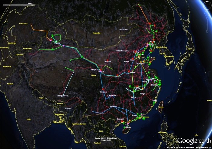 Figure 2: China's Energy Infrastructure. Crude oil pipelines are in green (orange if international), and oil product pipelines are blue. Refineries (gas pumps) that produce jet fuel are red, with orange producing jet fuel components. Green refineries mostly produce chemicals and no fuel. Oil terminals are green ships, green and purple circles are the SPR sites, and the rail network is in red. No teakettle refineries or province borders are displayed.