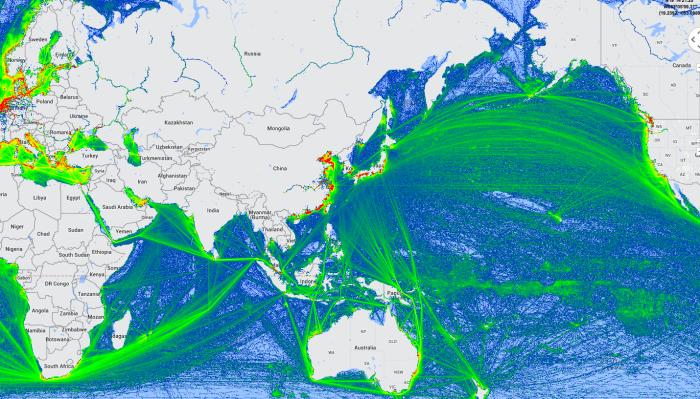 Figure 4: Maritime Freight Traffic 3rd Semester 2013 (Marinetraffic.com)