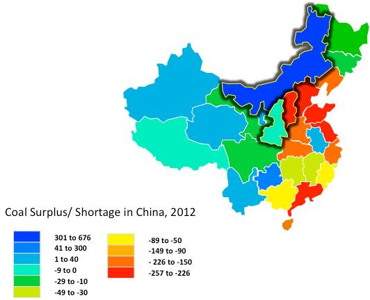 Figure 5: Coal Demand in China, 2012. The primary coal-producing provinces are outlined in black.
