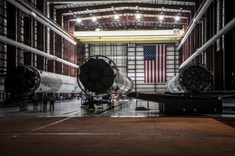 SpaceX's Three Successfully-Landed Falcon 9 Rockets in Hangar 39A at Kennedy Space Cetner(Photo by SpaceX)